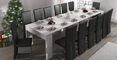 ofertas mesa consola extensible blanca barata comprar