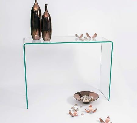 mesas consola de cristal